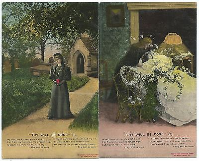 THY WILL BE DONE - Bamforth Song Card Postcards no;s 1 & 2