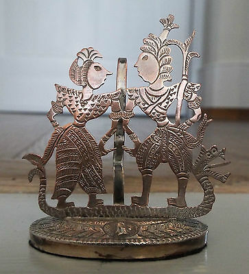 Vintage Silver Plated White Metal Oriental Figures Menu Holder Place Card Holder