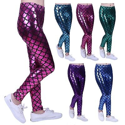 Girl's Shiny Mermaid Metallic Fish Scale Mermaid Leggings
