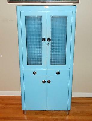Vintage Mid Century Baby Blue Atlas Metal Medical Cabinet with Glass Shelves