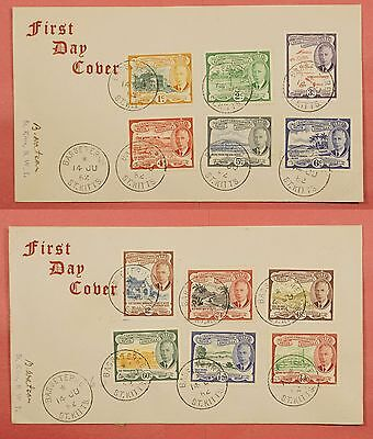 2 Fdc 1952 St Kitts Nevis #107-118 Set Covers
