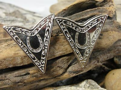"Silver Tone Western Collar Tips ""Horseshoe"""