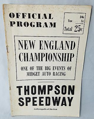 1940's Program Midget Race Car Thompson Speedway New England Championship
