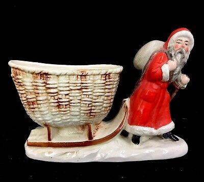 Antique Vintage Father Christmas Santa Claus Sleigh Planter Marked Germany As Is