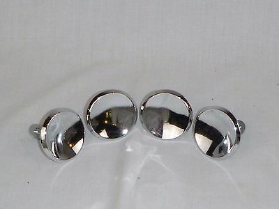 "4 Vtg Mid Century 2"" Round Chrome Concave Drawer Pulls Cabinet Hardware AMerock"