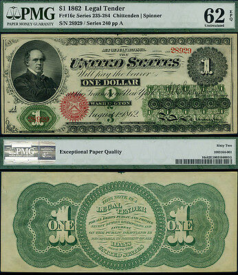 FR. 16 C $1 1862 Legal Tender PMG CU62 EPQ