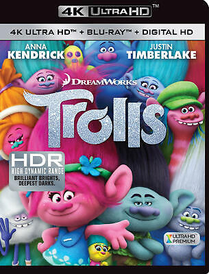 Trolls (4K Ultra HD, 2017, 2-Disc Set, Includes Digital Copy Blu-ray) NEW