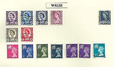 Great Britain GB used on album page 14 stamps QEII Regional Wales (GB)