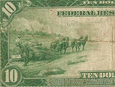 LARGE 1914 $10 DOLLAR BILL SAN FRANCISCO FED NOTE US CURRENCY MONEY Fr 951C PCGS