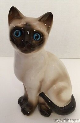 "Enesco SIAMESE CAT 7"" Figurine Blue Eyes Ceramic Figure Seal Point Porcelain"