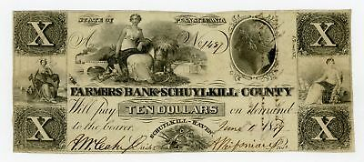 1849 $10 The Farmers Bank of Schuylkill County - PENNSYLVANIA (Spurious) Note