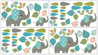 Sweet Jojo Designs Modern Elephant Jungle Decal Stickers Wall Art Bed Room Decor