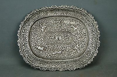 Indian Colonial Kutch Silver Tray Platter Hunting Dog Horsemen 50oz 1420g