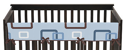 Jojo Geo Blue Brown Front Rail Guard Crib Cover Baby Teething Protector Wrap