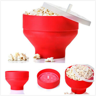 New Silicone Microwave Popcorn Popper Maker Collapsible Hot Air Machine Bowl Red
