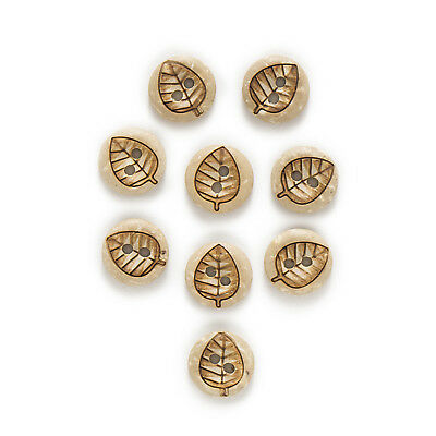 30pcs Coconut Buttons Leaves Decor Handwork Gift Home Sewing Scrapbooking 11mm