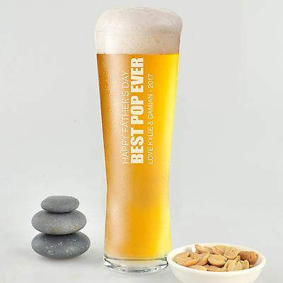 Personalised Favours Happy Father's Day Gift Beer Glass - Best Pop Step Dad