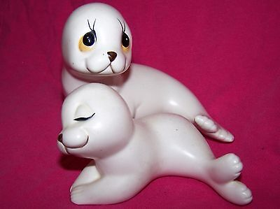 Vintage Ceramic White Seals  Made in Mexico by Oxford Baby Seal Pup Figurines