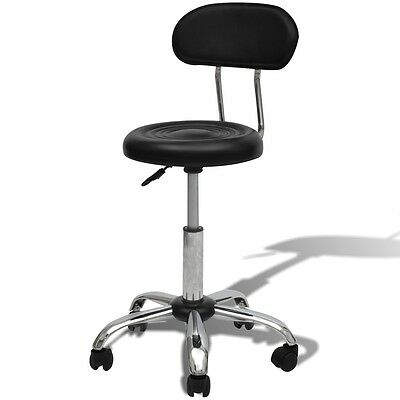 S# Salon Spa Stool Hydraulic Gas Lift Backrest Bar Chair Adjustable Barber Black