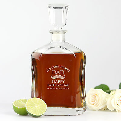 Personalised Favours Happy Father's Day Gift Whiskey Decanter - Engraved Glass