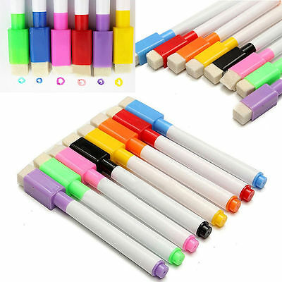 5/10Pcs Colorful Plastic Whiteboard Marker Dry Erase Pen with Eraser Lid Cap Hot