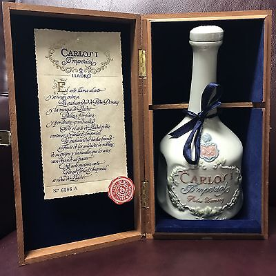 Carlos I Imperial Brandy Liquor Bottle by Lladro Collectible Rare Wooden Case