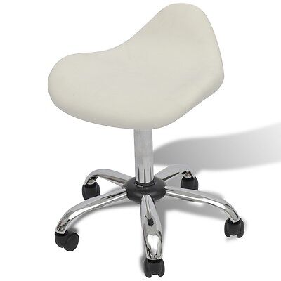 S# White Stool Hydraulic Gas Lift Salon Spa Bar Chair Barber Adjustable Rolling