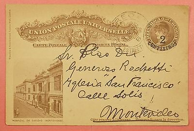 1920 Uruguay Revalued Picture Postal Card Stationery To Montevideo