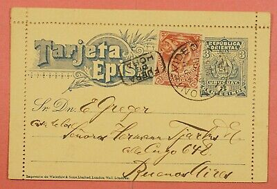 1903 Uruguay Montevideo Uprated Letter Card Stationery To Argentina