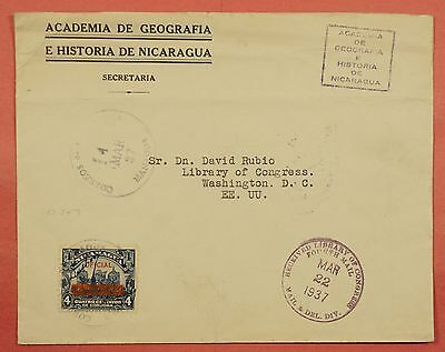 Nicaragua 1937 Official Overprint On Cover To Library Of Congress Usa
