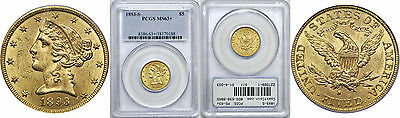 1893-S $5 Gold Coin PCGS MS-63+