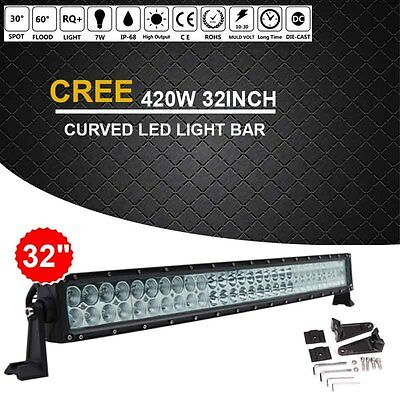 CREE 420W 32INCH Curved LED Work LIGHT BAR COMBO Offroad Truck SUV Jeep Ford T