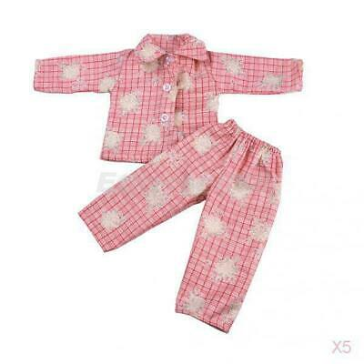 5x Pajamas Nightgown Sleepwear for 18inch American Journey Girl My Life Doll Red