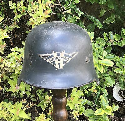 "Ww2 German Steel Helmet ""hanomag"" Factory Guards All Original.factory Marked."