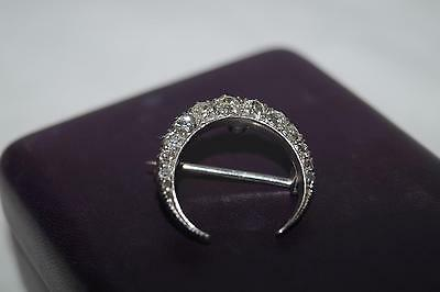 Vintage Diamond Tiara/crescent/moon Brooch Ref Ln