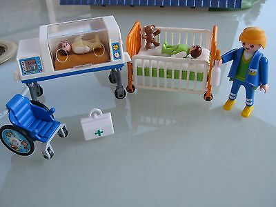 Playmobil Hospital Lot Baby In Incubator Wheelchair Doctor Baby Cot On Wheels