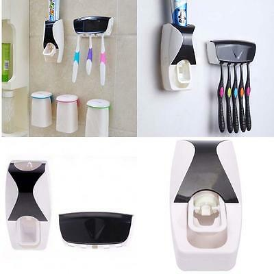 Set Automatic Lazy Toothpaste Dispenser& 5 Toothbrush Holder Wall Mount Stand AC