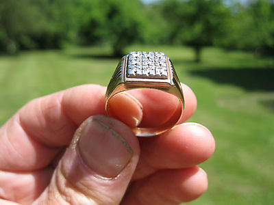 Gents 18K Solid Gold  Diamond Ring Antique 10 Grms