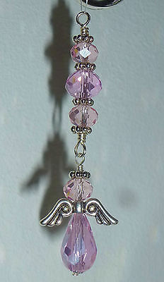 Handcrafted Crystal Angel Sun Catcher - Palest Pink AB