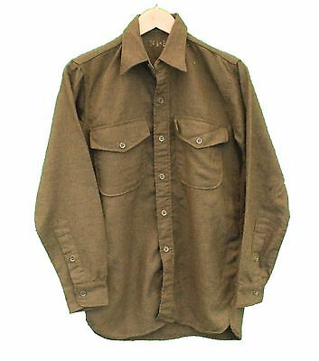 """Vintage Wool Shirt Military Green Army - S 36"""" (26380)"""