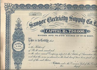 19-- India share certificate: Saugur Electricity Supply Co Ltd
