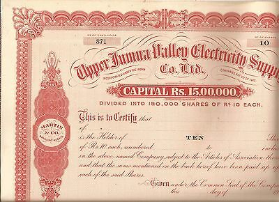 1920s India share certificate: Upper Jumna Valley Electricity Supply Co Ltd