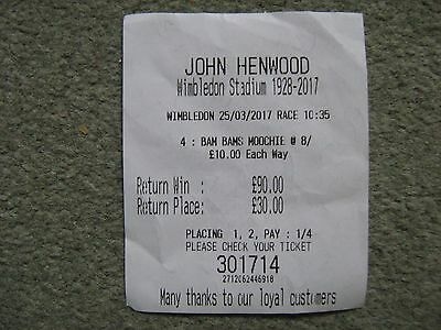 Last Ever Wimbledon Greyhound Race Betting Ticket In The 10.35 Final Race
