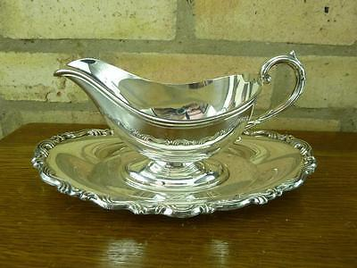 a lovely vintage Oneida EPNS silver plated Pedestal Sauce boat jug on tray