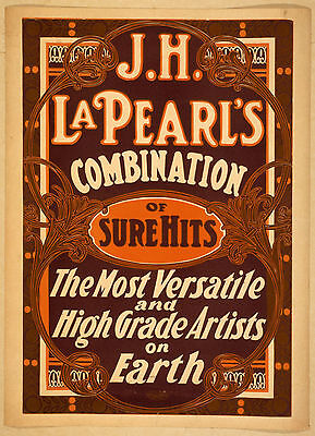 Photo Printed Old Poster: 1800s Theatre Flyer Jh Pearls Combination Of Sure Hits