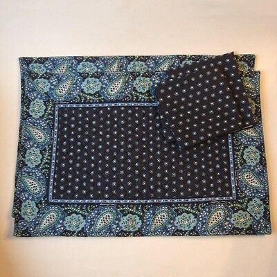 Vera Bradley Seaport Navy 2 Placemats 2 Napkins Unused Cotton Cloth Fabric