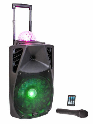 "Mobile PA-Anlage ""PARTY-12ASTRO"" Akku Sound Box mit LED/USB/SD/MP3/VHF/BT"
