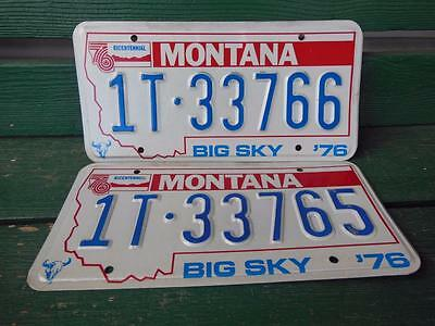 1976 Montana 1T-33766 & 1T-33765 Big Sky Bicentennial License Plate Pair Garage