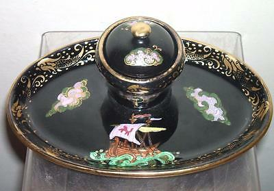 MALING LUSTRE GALLEON INKWELL c.1930's