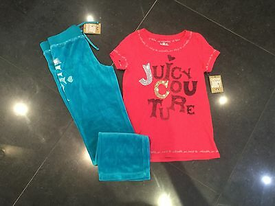 NWT Juicy Couture New & Gen Girls Age 8 Green Velour Pants & Pink Cotton T-Shirt